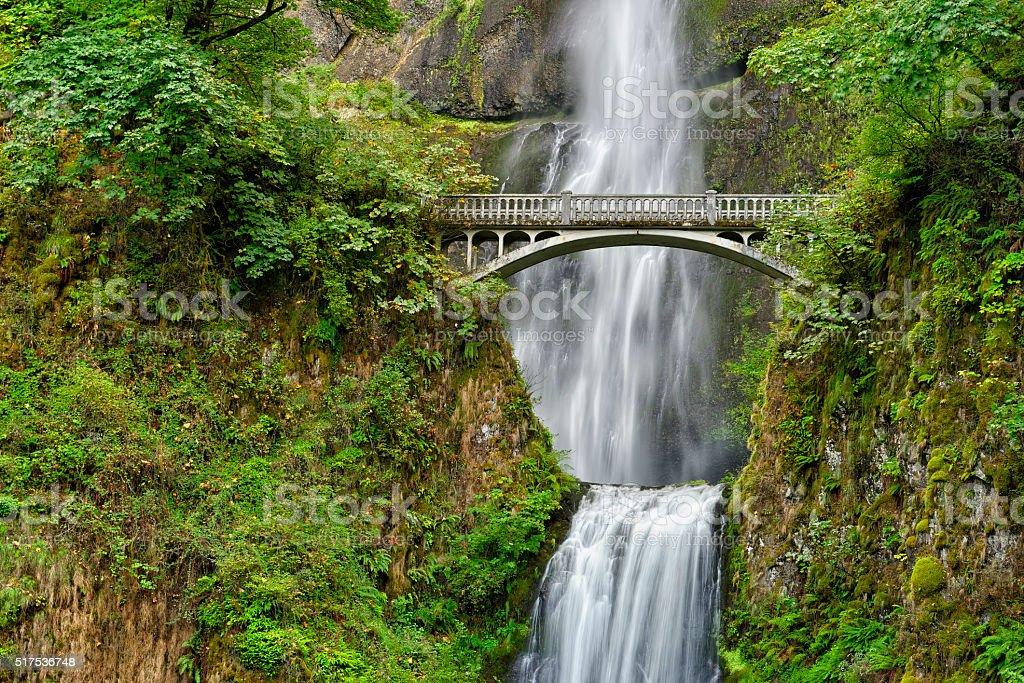 Benson Bridge over Multnomah Falls, Columbia River Gorge Nationa stock photo