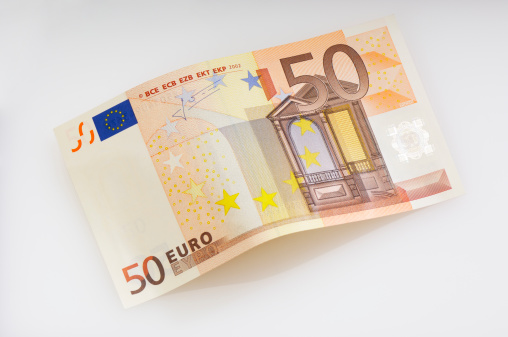 Bent Fifty Euro Banknote Stock Photo - Download Image Now