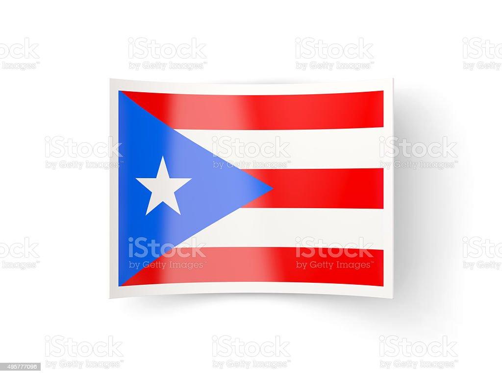 Curvada icono con bandera de puerto rico - foto de stock