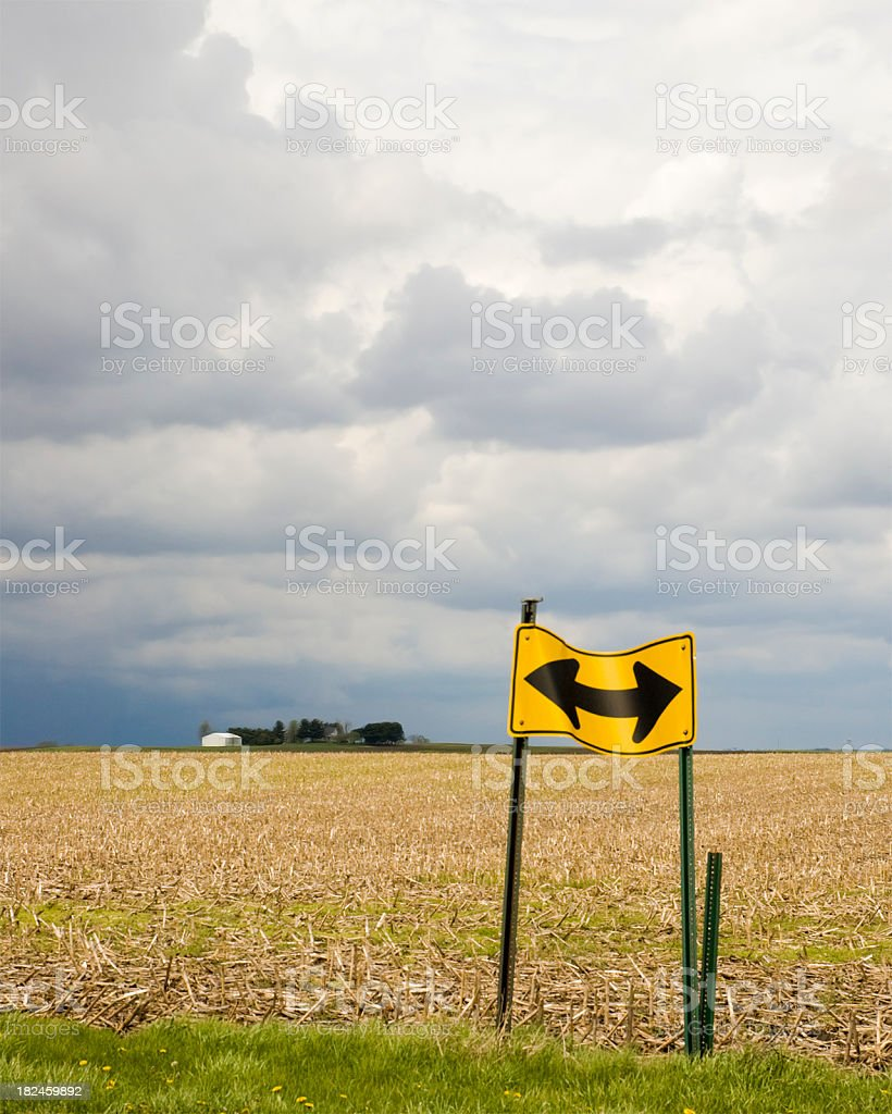 Bent Road Sign royalty-free stock photo