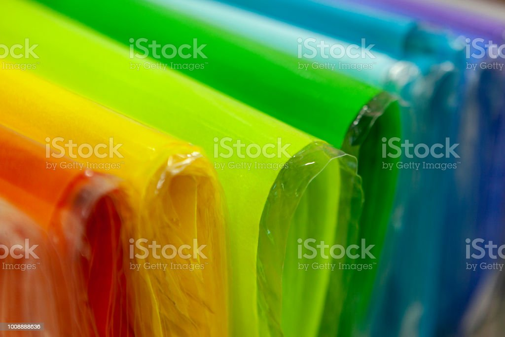 Bent Sheets Of Colored Cardboard In Package Close Up Colorful Paper ...