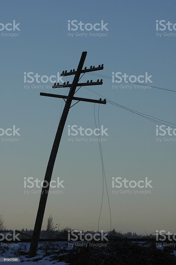Bent Telephone Pole royalty-free stock photo