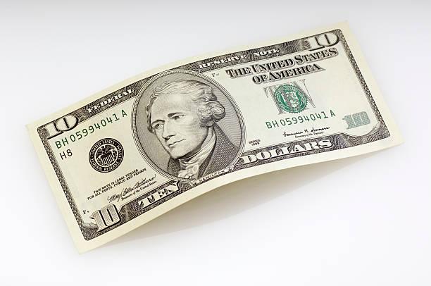 Verbogene zehn-Dollar-Schein – Foto