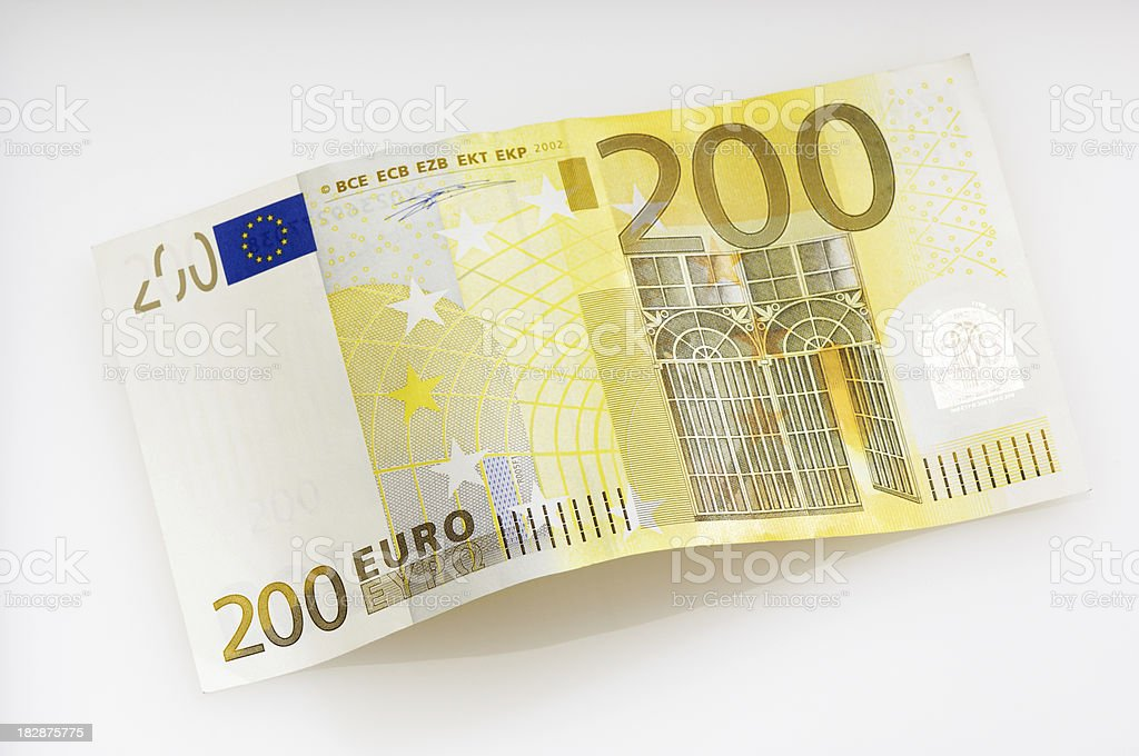 Bent two hundret Euro note stock photo