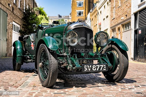 London, England - June 26, 2018: A front three quarter view of a magnificent 1923 Bentley 3-4.5 Litre Le Mans sitting in a cobbled Mews in London.