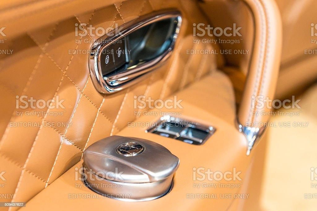 Bentley Bentayga luxury SUV interior detail stock photo