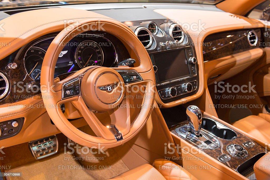 Bentley Bentayga luxury SUV interior stock photo