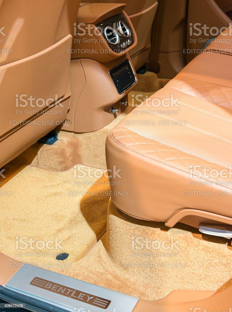 Bentley Bentayga luxury SUV interior rear seats stock photo