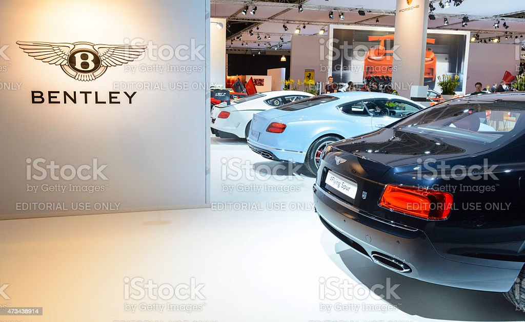 Bentley British luxury automaker motor show stand stock photo