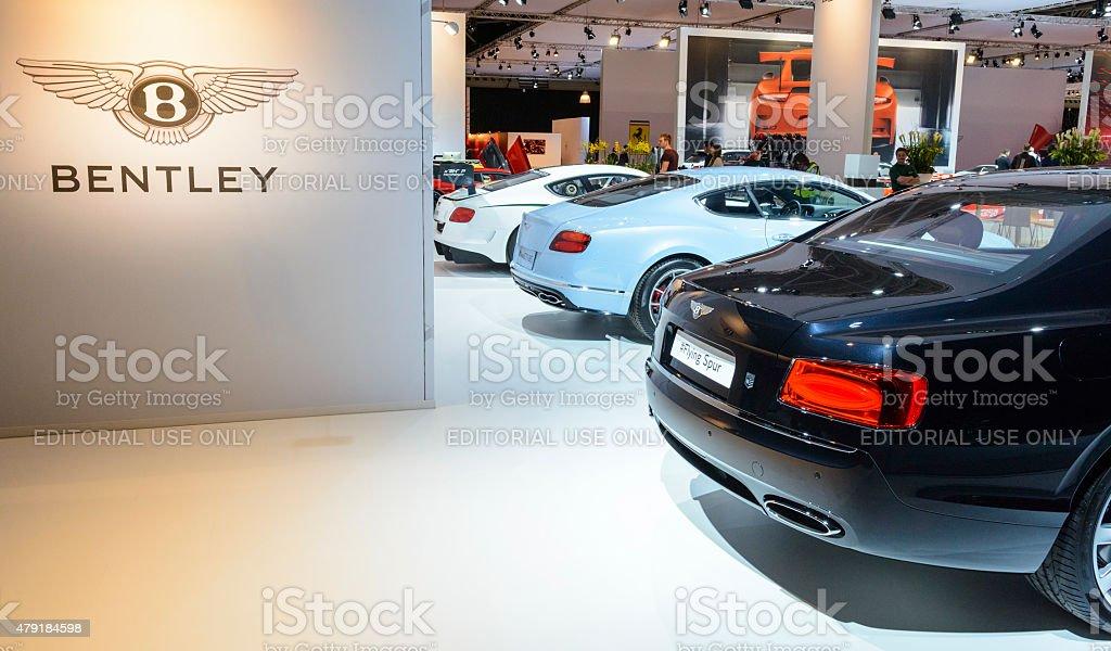 Bentley British luxury automaker motor show stand stock photo