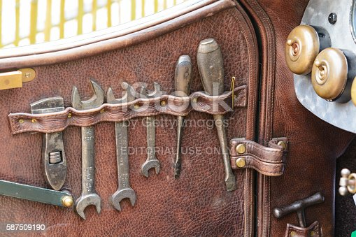 Jüchen, Germany - August 1, 2014: Toolkit inside the door of a vintage 1920s Bentley race car on display during the 2014 Classic Days event at Schloss Dyck.