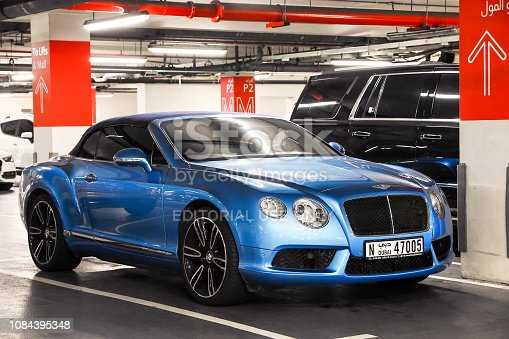 Dubai, UAE - November 16, 2018: Motor car Bentley Continental GTC is parked at the underground parking,