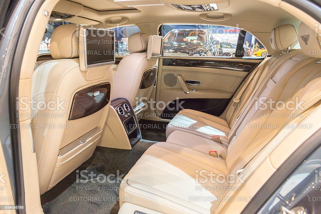 Bentley Flying Spur V8 luxury sedan interior stock photo