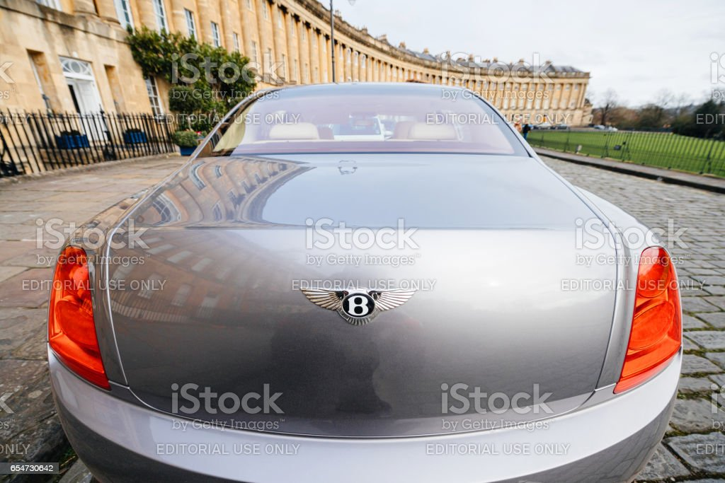 Bentley Mulsanne limousine car with the Royal Crescent luxury Building complex stock photo