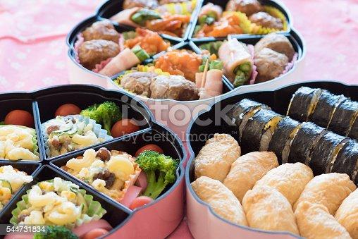 istock bento (Japanese lunch box) , Inari Sushi  and Norimaki 544731834