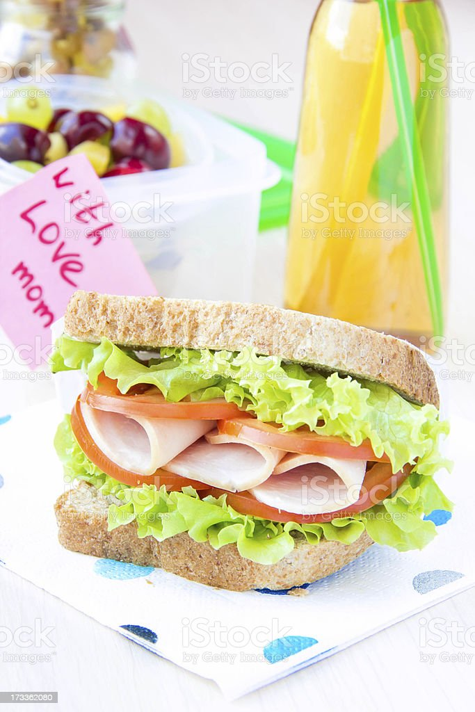 Bento lunch for child in school, box with healthy sandwich royalty-free stock photo