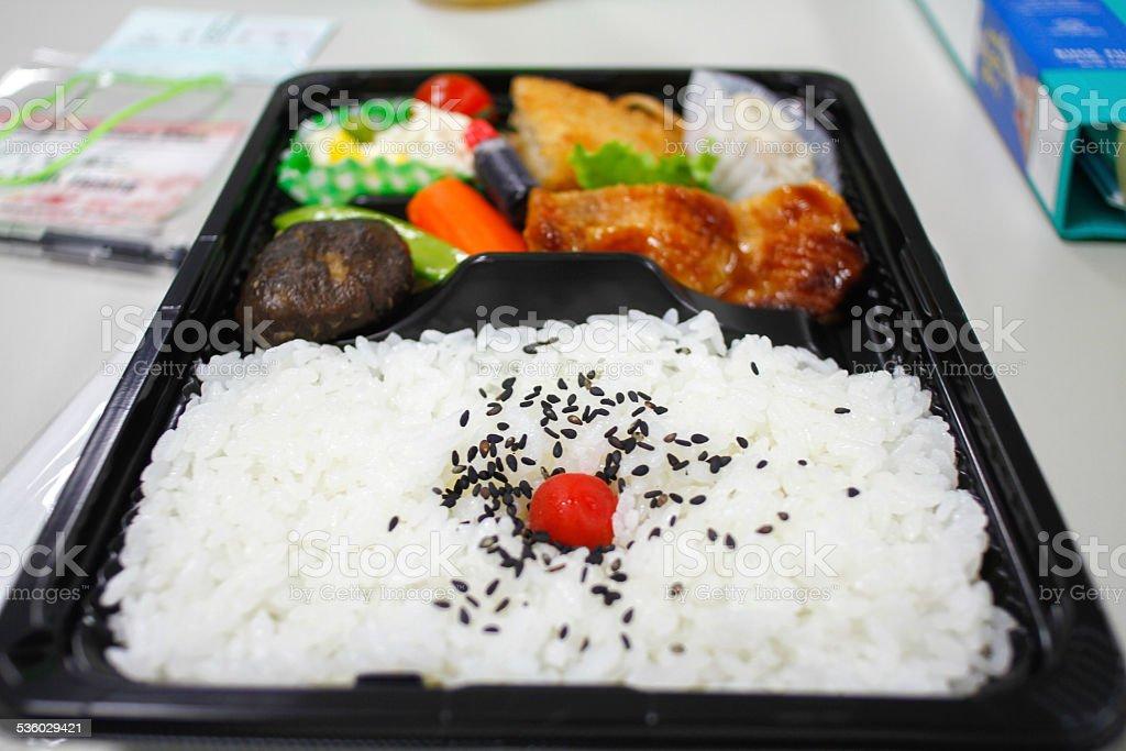 Bento on the plastic box stock photo