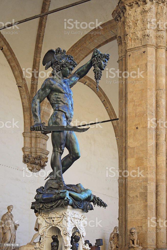 Benvenuto Cellini's statue Perseus holding head of Medusa royalty-free stock photo