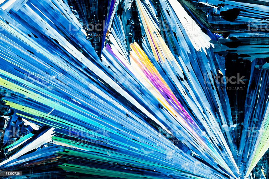 Benzoic acid crystals in polarized light royalty-free stock photo