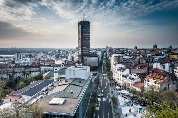 beogradjanka the tallest building in belgrade - belgrade serbia stock photos and pictures