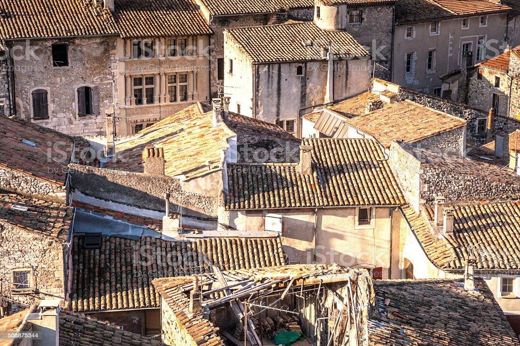 über die Dächer von Viviers ardeche Frankreich stock photo