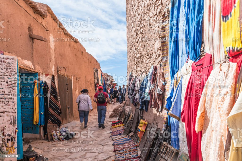 Berber clothing for sale at Ait Benhaddou stock photo