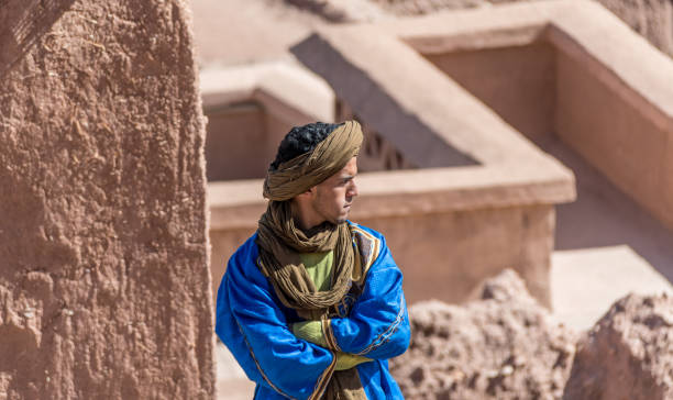 Berber man in traditional clothes at Ait Benhaddou in Morrocco stock photo