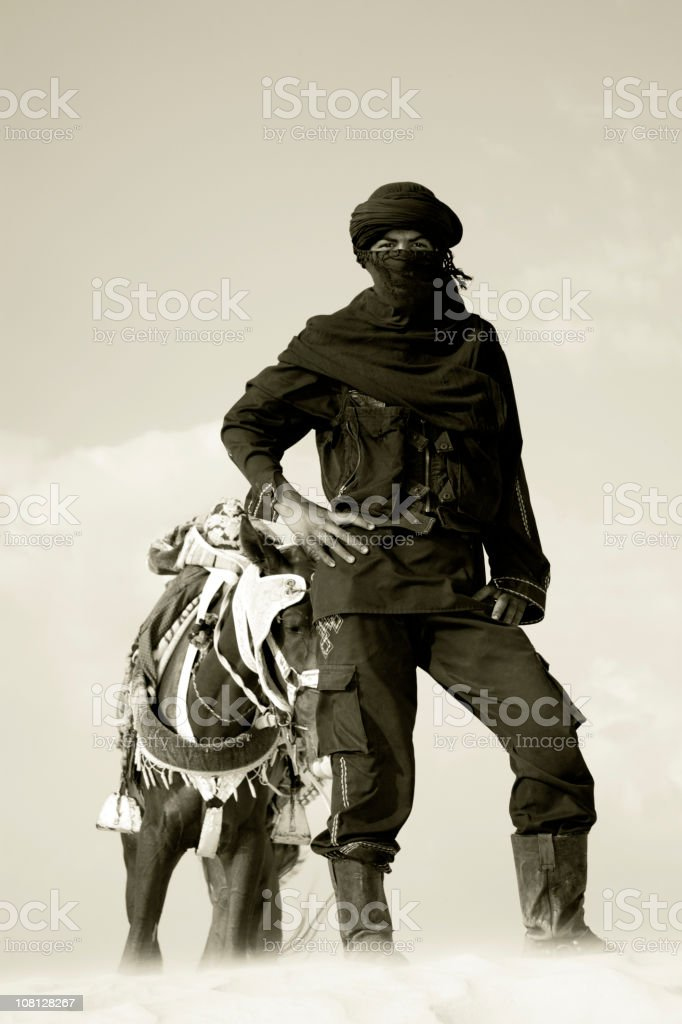 berber man portrait sahara desert stock photo