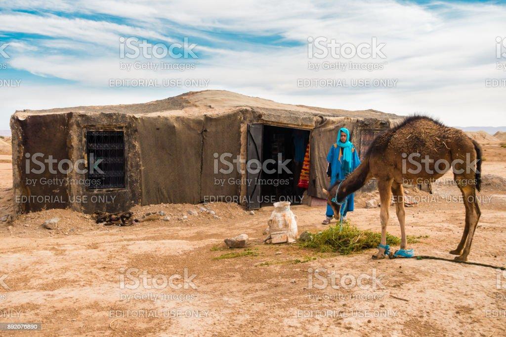 Berber Mann beobachtet sein Kamel Essen – Foto