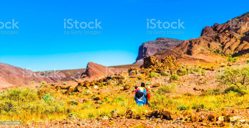 Berber nomads in the Atlas mountain in Morocco stock photo