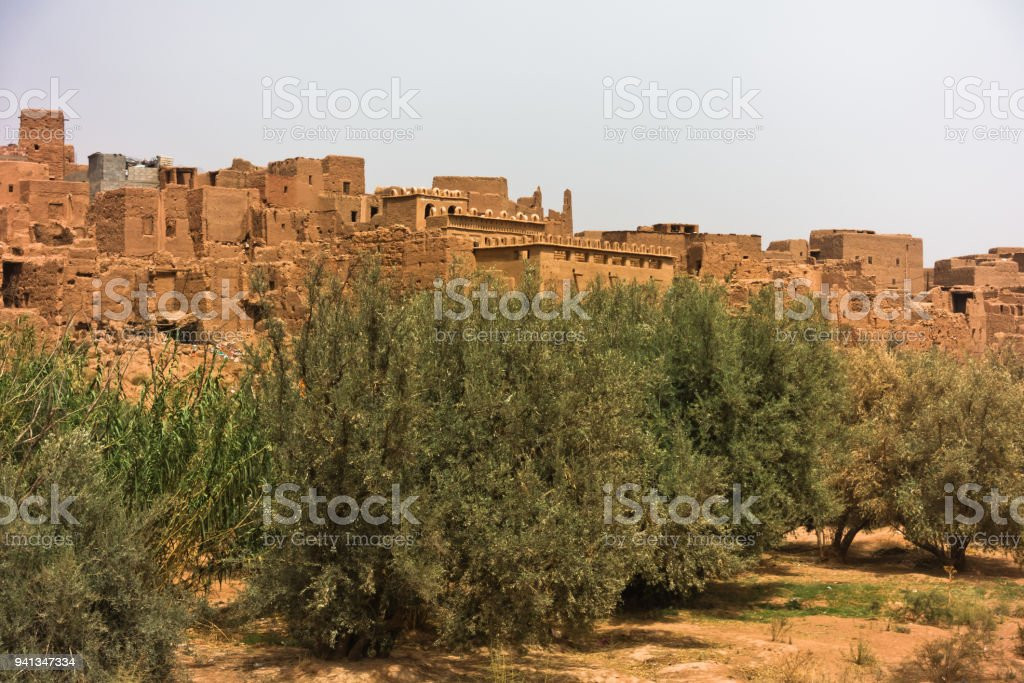 Berber village built is Casbah style near Todra gorge in Mid Atlas, Morocco stock photo