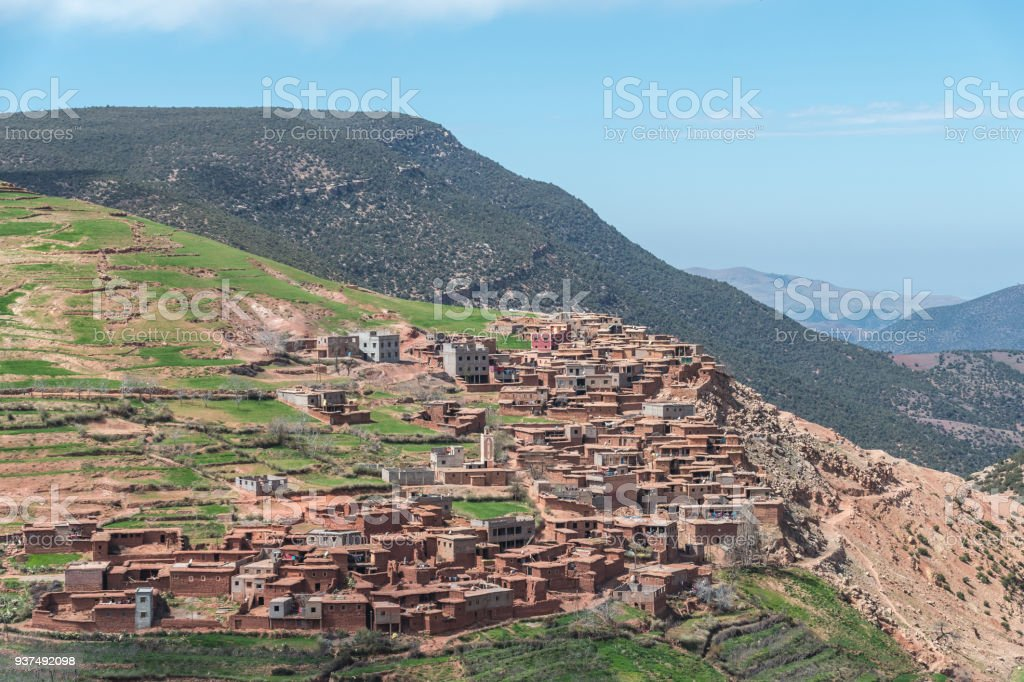 Berber Village in the valleys of the High Atlas Mountains in Morocco stock photo