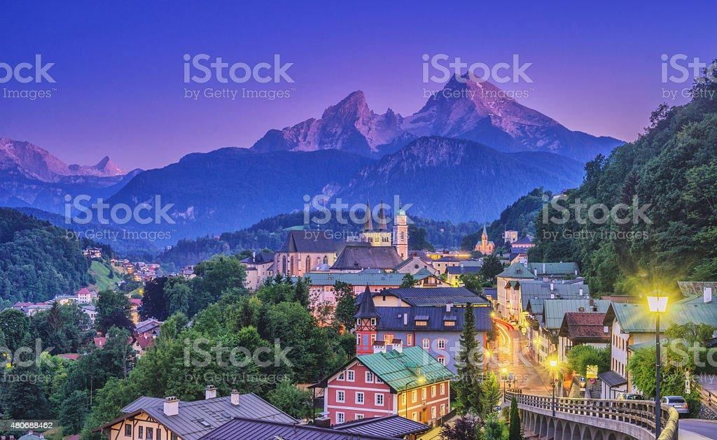 Berchtesgaden and Watzmann at dusk stock photo