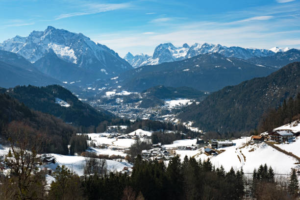 Berchtesgaden View, captured from the Rossfeld Panorama Strasse, in Germany stock photo