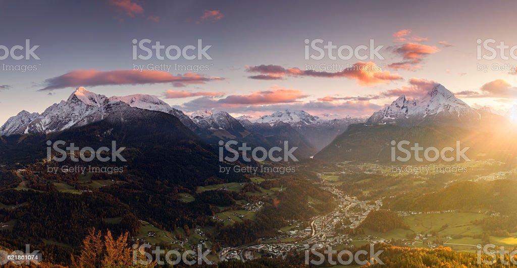 Berchtesgaden with Watzmann at Sunrise in Autumn - Panorama stock photo