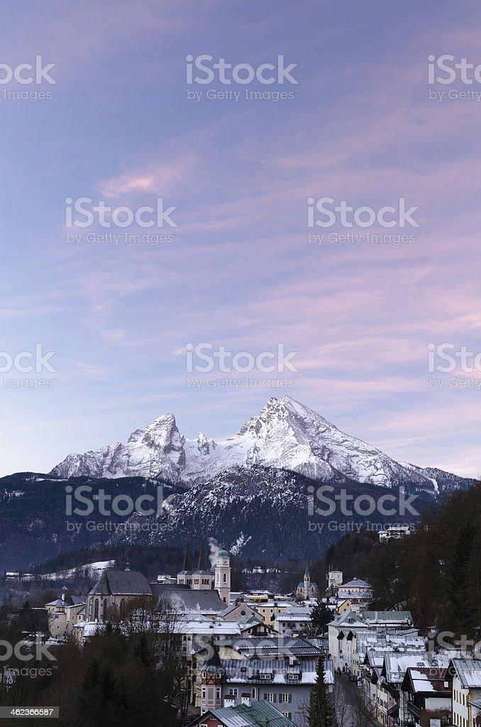 Berchtesgaden with Watzmann at Sunrise stock photo