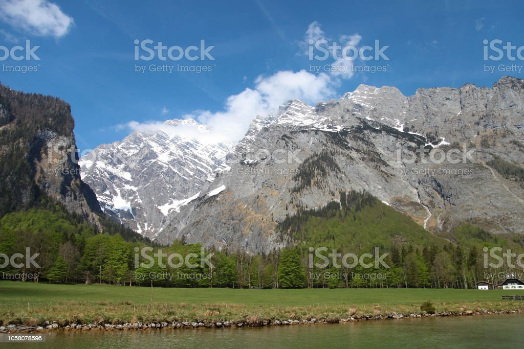 Berchtesgaden, wondreful mountains adn bright lake stock photo