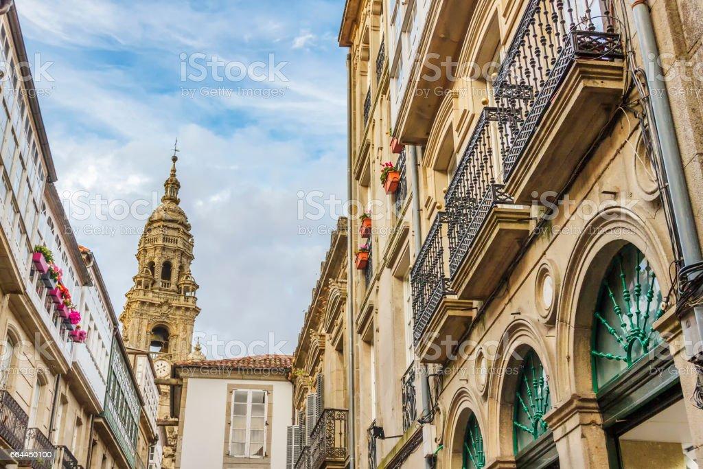 Berenguela bell tower from Santiago de Compostela streets stock photo