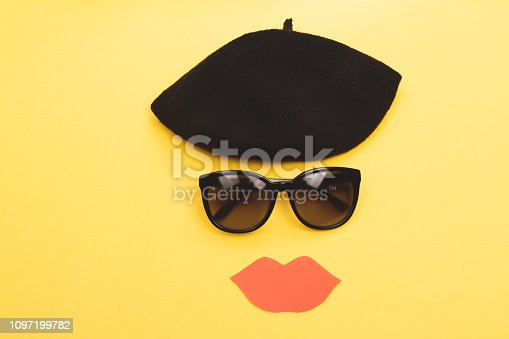 469211680 istock photo Beret, sunglasses and lips 1097199782