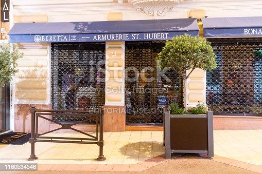 Monaco-Ville, Monaco - June 2, 2019: Beretta shop in shop armurerie St. Hubert.