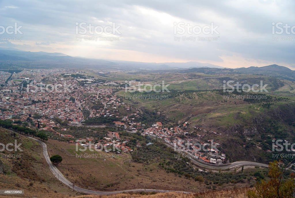 Bergama aerial view, Turkey stock photo
