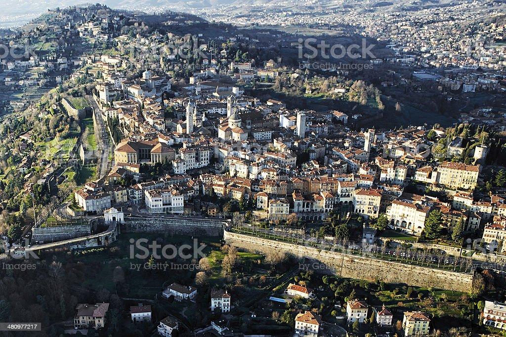 Bergamo, vista aérea - foto de stock