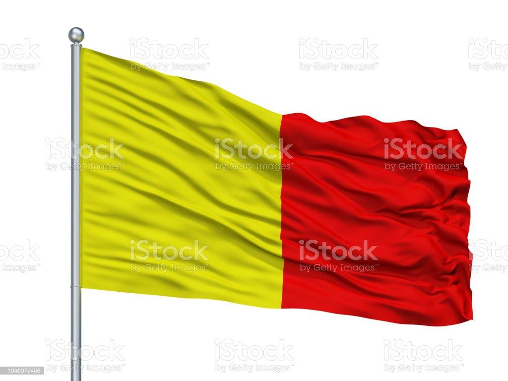 Bergamo City Flag On Flagpole, Italy, Isolated On White Background stock photo