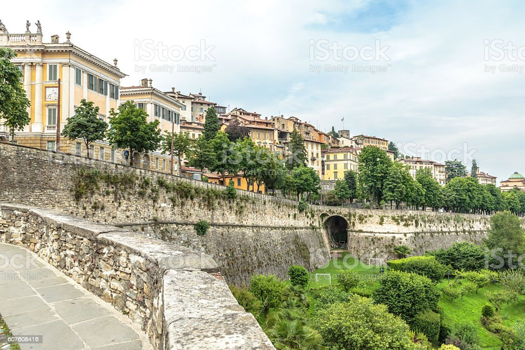 Bergamo city view from above stock photo