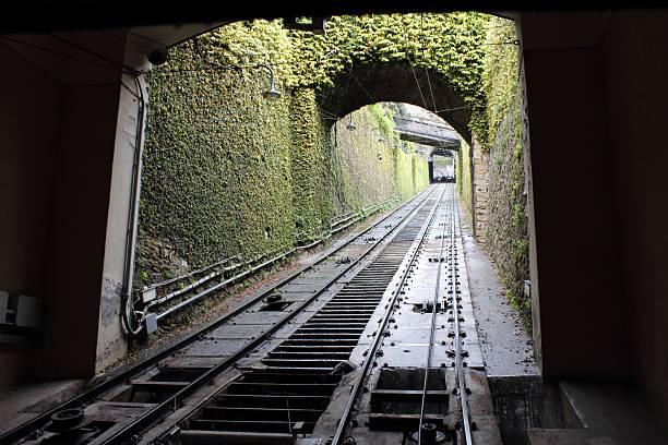 Bergamo funicular station railroad track stock photo