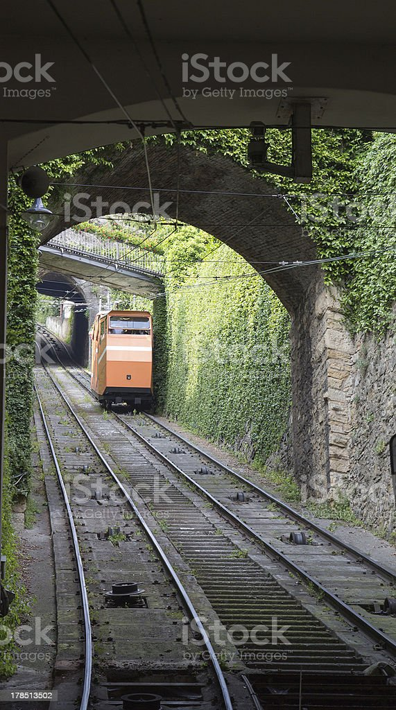 Bergamo, Italy  funicular railways stock photo