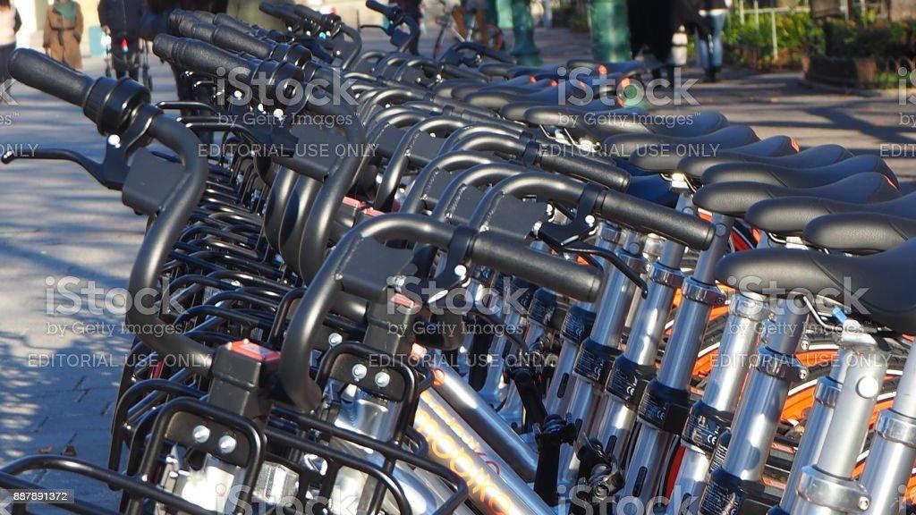 Bergamo, Italy. The new bike sharing stock photo