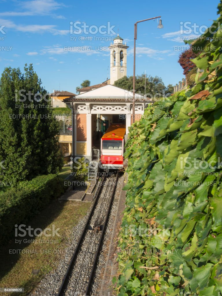 Bergamo, Italy. The red funicular in the old city of Bergamo at the upper station at San Vigilio hill stock photo