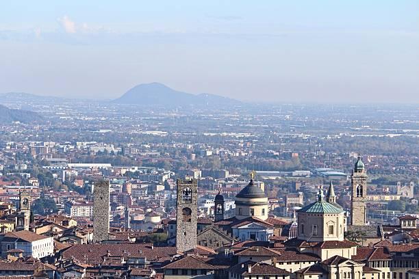Bergamo Lombardy Italy skyline stock photo