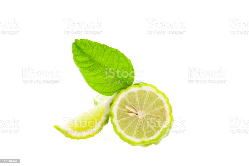 Bergamotte-Frucht und Blätter isoliert auf weißem Hintergrund. – Foto